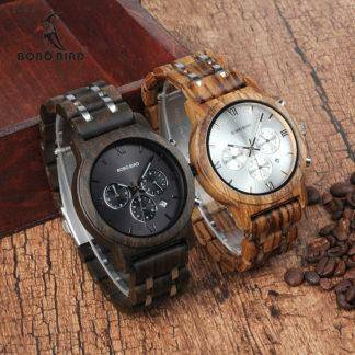 relogio masculino Wood Metal Strap Chronograph Date Quartz Watches Luxury Versatile Timepieces WP19