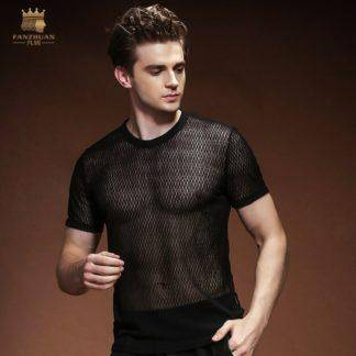 Perspective Pack Summer Mesh Hollow T-Shirt black Round Neck T Shirt Europe