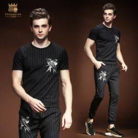 male Men's summer clothes short-sleeved suit Korean t shirt pants 2 pieces set