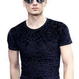 fashion casual New T shirt slim Flocking Flocking Embroidery T-shirt short sleeve