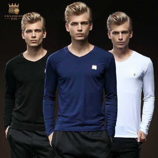 Men casual Pure cotton men's decoration V neck long sleeved T-shirt bamboo fiber
