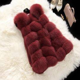 Winter Casual Faux Fur Coat Women Vintage Fashion Warm Slim Sleeveless Coat