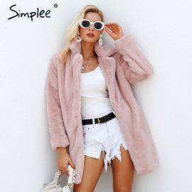 Simplee Elegant pink shaggy women faux fur coat streetwear Autumn winter warm plush teddy coat