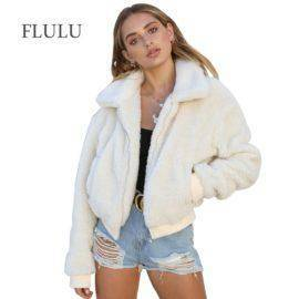 Autumn Winter Women Faux Fur Coat Casual Solid Warm Long Sleeve Faux Fur Zipper Jacket Coat Female