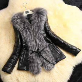 Autumn Winter Coat Warm Long Sleeve Faux Fur Coat PU Leather Fur Jacket