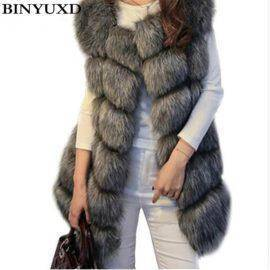 Winter Warm Fashion Women Import Coat Fur Vests High-Grade Faux Fur Coat Fox Fur Long Vest Women's Jacket