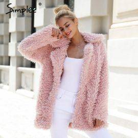 Simplee Warm winter faux fur coat women Fashion streetwear large sizes long coat female Pink casual autumn coat outerwear