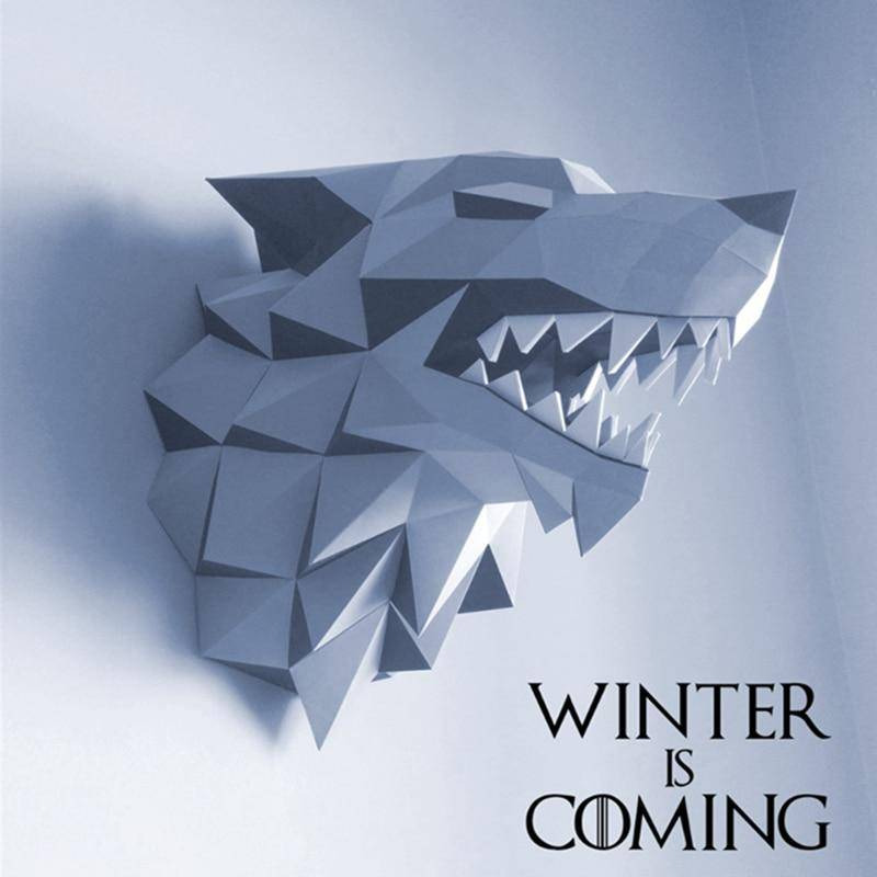 Game of Thrones House Stark Winterfell Direwolf Head Paper Folding Model Toy Puzzle