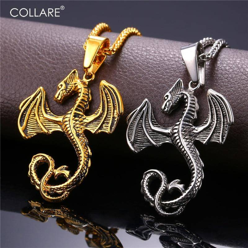 Collare Winged Dragon Pendant Stainless Steel Gold Color Necklace Hippie Game of Thrones Dragon Animal Men Jewelry