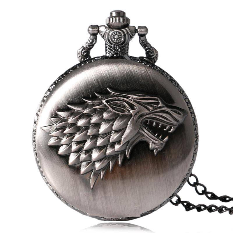 Antique Pocket Watch Games of Thrones Crest of Stark House Fob Clock Men Women Xmas Gift With Necklace Chain
