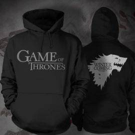 Game of Thrones Direwolf Men Hoodies Black Sweatshirts Winter is Coming Cotton Hooded Hoodie