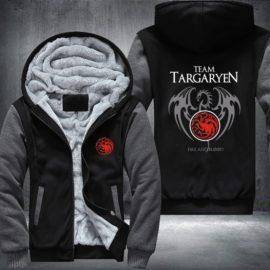 Game Of Thrones House Of Targaryen Graphic Super Warm Thicken Fleece Zip Up Hoodie Men's Coat Red