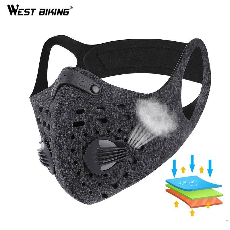 Coronavirus Sport Face Mask With Filter Activated Carbon PM 2.5 Anti-Pollution Running Cycling Mask