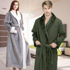 Bathrobe Mens Luxury Kimono Bath Robe Women Sexy Fur Robes Male Dressing Gown