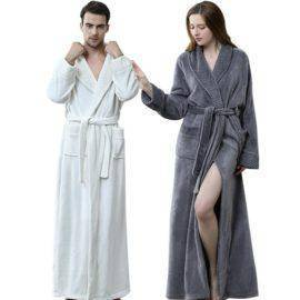 Flannel Coral Fleece Bath Robe Men Women Knitted Waffle Kimono Bathrobe Dressing Gown