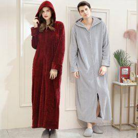 Warm Coral Fleece Bathrobe Cozy Flannel Hooded Bath Robe Night Dressing Gown Women Sleepwear