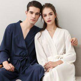 Women Bathrobe Sleepwear Autumn Lovers Casual Robes Men Waffle Nightgown Kimono Bride Groom Wedding Gown