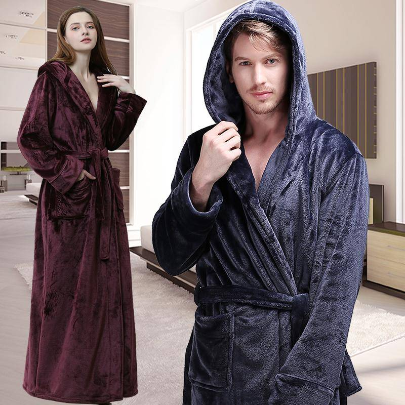 Flannel Warm Bath Robe Plus Size Luxury Soft Thermal Bathrobe Dressing Gown Male Robes
