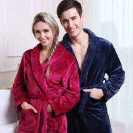 Women Luxury Winter Bathrobe Mens Warm Silk Flannel Long Kimono Bath Robe Male Bathrobes Lovers Night Dressing Gown