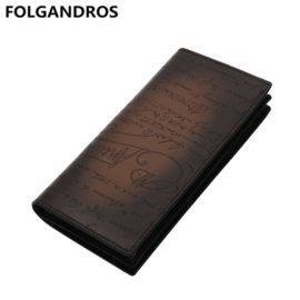 2018 Men Italian Cowhide Long Wallets Handmade Lettering of Love Letters Organize Wallet Large Capacity Genuine Leather Notecase
