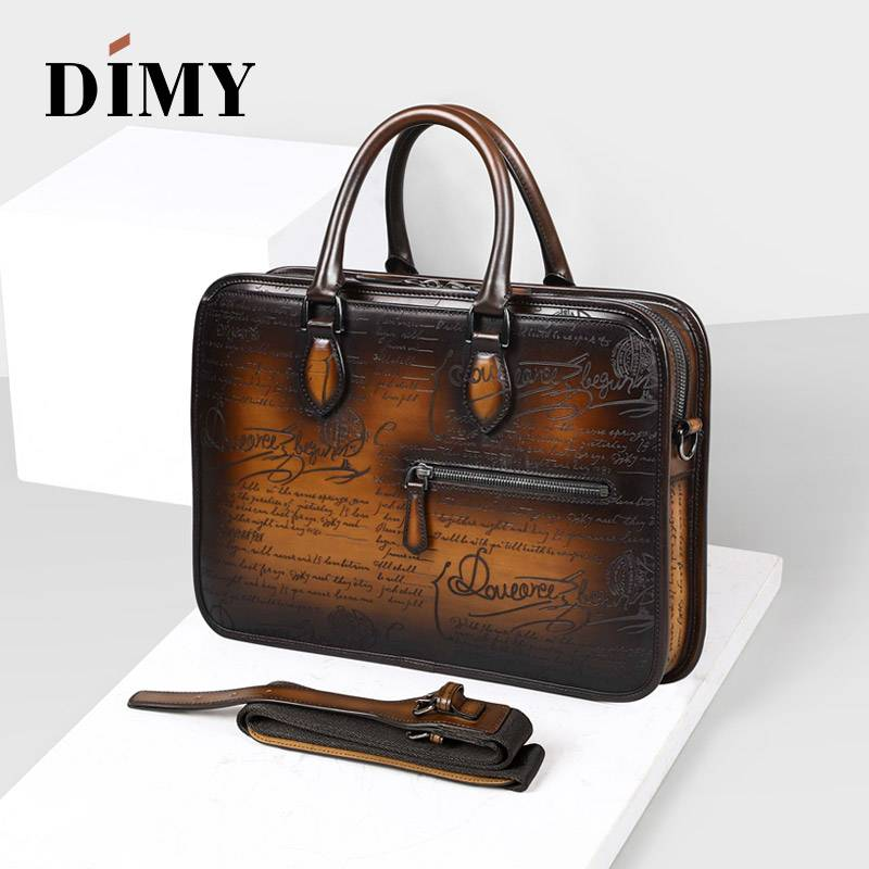 Italian Calfskin Leather Briefcases Bags For Men Macbook Handmade Laptop Bags Business Case Totes Vintage Shoulder Bag