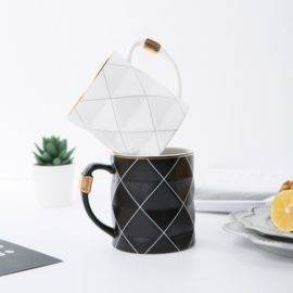 Nordic Golden Black and White Grid Geometry Ceramic Coffee Mug Porcelain Juice Drinking Cup Coffee Milk Tea Cup