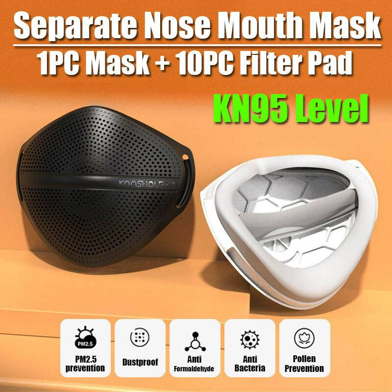 Covid 19 Face Mouth Mask&Carbon Filters Separate Nose Purify Reusable Respirator Washable