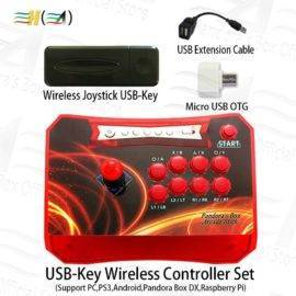 Original Wireless arcade joystick Controller with USB-Key Wireless receiver Set connect PS3 PC Android Pandora Box DX raspberry