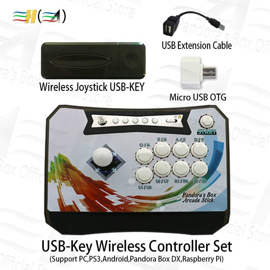 Pandora box wireless controle arcade stick console with USB-Key receiver kit for pc ps3 raspberry pi Android Pandora Box DX