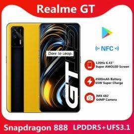"Original Realme GT 5G Smart Phone Snapdragon 888 5nm 120Hz 6.43"" Super AMOLED Screen 3D Glass Body 4500mAh 65W Super Charge NFC"